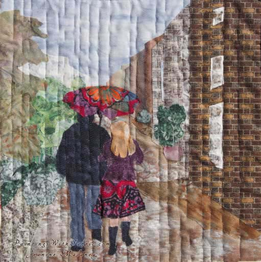 Walking in the RainOriginal Landscape Quilt Art Quilt