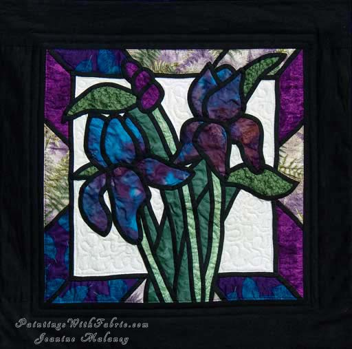 Iris Stained GlassOriginal Landscape Quilt Art Quilt