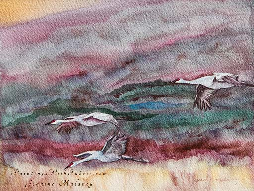 Dusk at Bosque del Apache - an Original Landscape Watercolor Painting