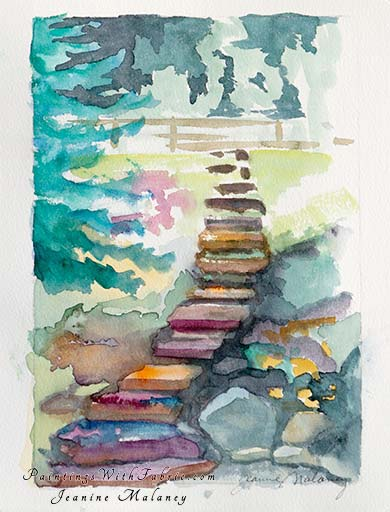 Garden Stairs - an Original Artwork Watercolor Painting