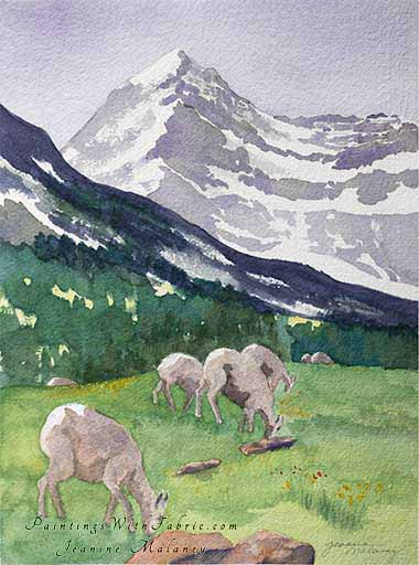 Grazers at Glacier National Park  - an Original  Watercolor Painting