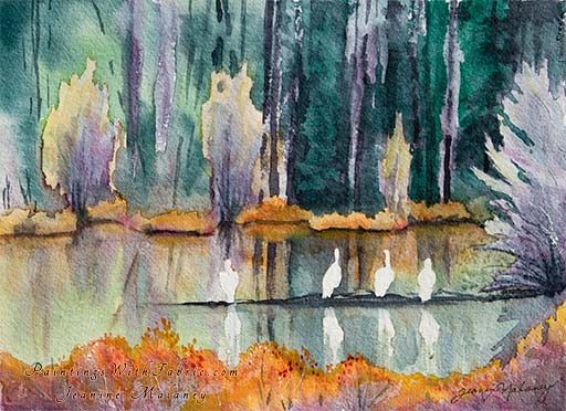 Pelicans at Yellowstone  - an Original Landscape Watercolor Painting