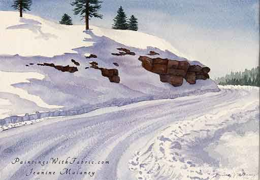 Along Piedra Road - an Original Winter Watercolor Painting