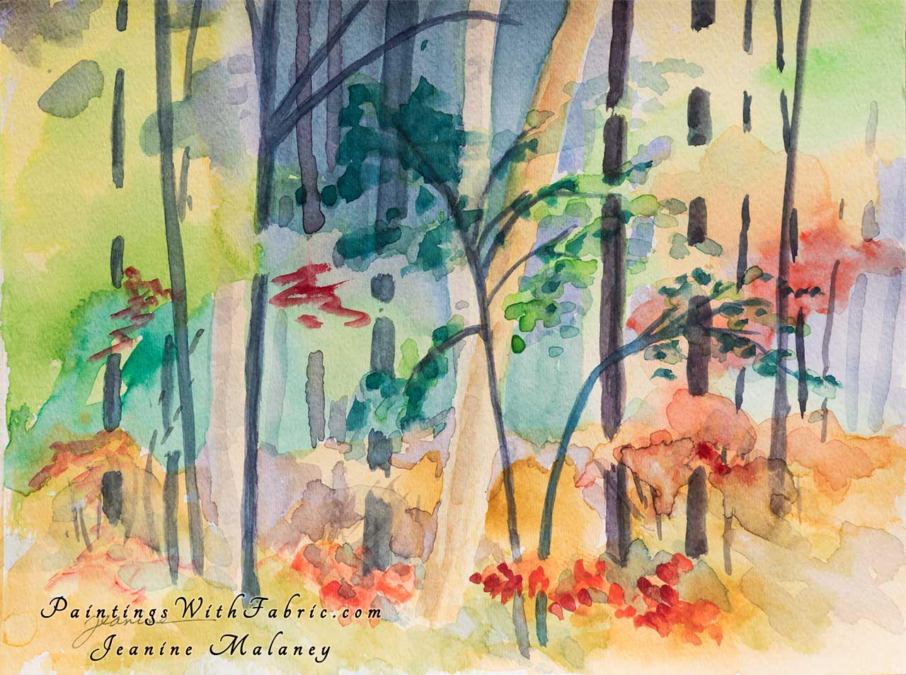 Forest Fabric Unframed Original Watercolor Painting a colorful painting of the forest in Bend OE