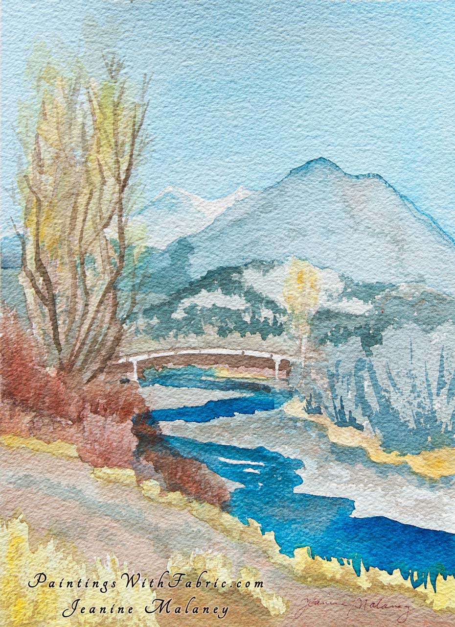 Indian Summer  Unframed Original Watercolor Painting San Juan River in the fall