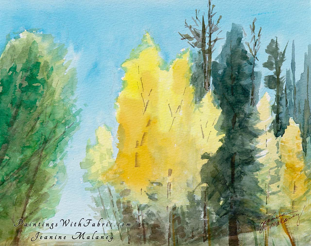 One Fall Day Unframed Original Watercolor Painting A watercolor painting of a Fall Day in the Colorado Mountains