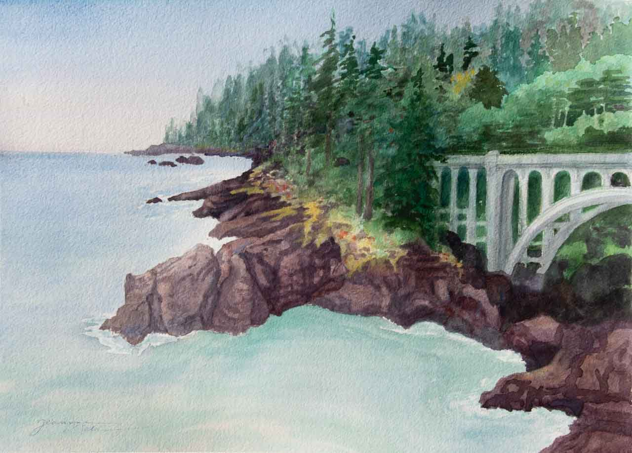 Oregon Coast  Unframed Original Watercolor Painting Oregon Coast with a bridge